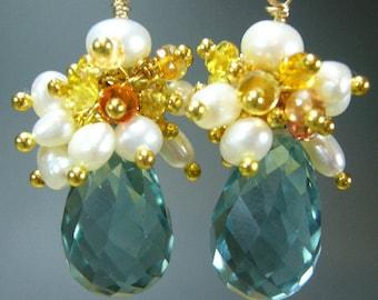 Green Amethyst Sapphire Gold Earrings