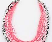 Hand Printed Fabric Necklace in Pink White and Black