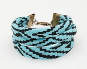 Hand Printed String Cuff Bracelet in Mint and Black 'Maze'