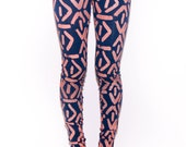 Hand Printed Leggings in Navy and Orange Punch 'Face' Print