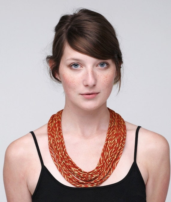 Hand printed Maze Fabric Necklace in Rust and Gold