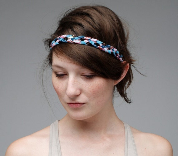 Braided Headband in Blue and Black