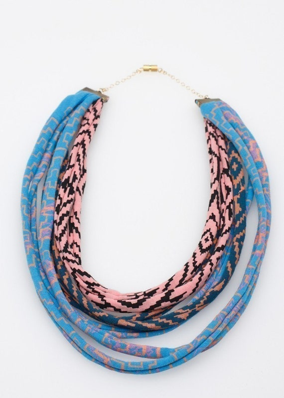 Maze Fabric Necklace in Blue Pink and Green