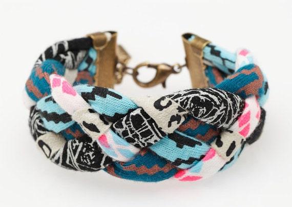 Hand Printed 'Insanity' Braided Cuff Bracelet