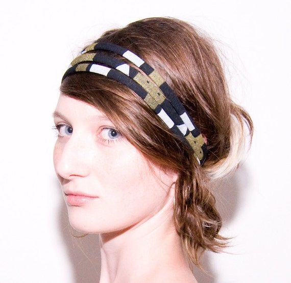 Hand Printed 'Byzantine' Headband in Black, Gold and White