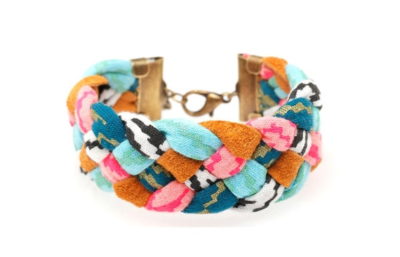 Braided Fabric Bracelet in Mint and Hot Pink