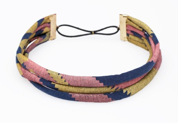 Hand Printed 'Zigzag' Headband in Rose and Gold on Navy