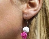 Pink and white fabric rose earrings