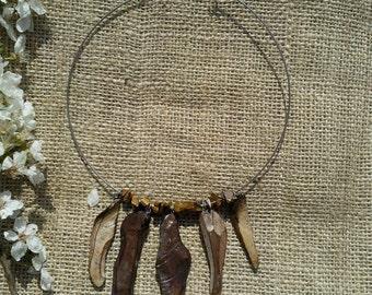 Scotch Pine Bark Wooden Statement Necklace