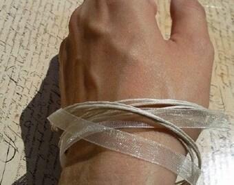 Ivory versatile satin ribbon thong necklace to bracelet