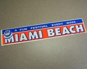 Miami Beach Florida vintage bumper sticker red white blue stars straw hat summer fun car sticker