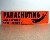 Parachuting Lakewood New Jersey 1969 Bumper Sticker orange black automobile car decal