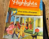 Highlights magazine October 1981, Halloween, coustume fun, black cat, witch, crafts, ghosts, boo, what's wrong puzzles