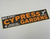Cypress Gardens Florida vintage bumper sticker brown orange white water ski show southern belle flower garden bikini swimming
