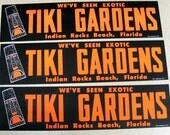 The original Tiki Gardens bumper sticker, vintage florida, indian rocks beach, new old stock, orange, black, day glow, exotic, polynesian