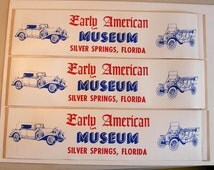 Silver Springs Florida early american museum vintage bumper sticker antique vintage cars model t horseless carriage red  white blue