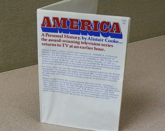 America, Alistair Cooke, poster, map, 1973, old television, history, united states, patriotic, red white and blue, american indian