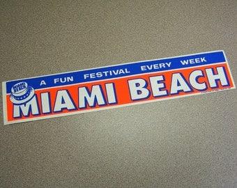 Miami Beach Florida vintage bumper sticker red white blue stars straw hat summer fun car sticker