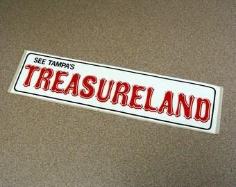 Treasureland Tampa Florida Vintage Bumper Sticker, red white black, pirates, amusement park, defunct rides, roadside attraction, tampa bay