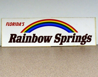 Florida Rainbow Springs vintage bumper sticker red yellow purple blue green white vinyl car decal