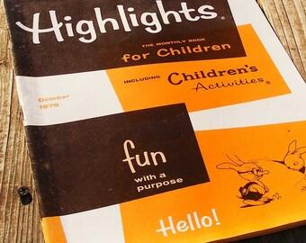 Highlights magazine, October, 1979, fall colors, brown, orange, halloween crafts, fun stories, games, children, nostalgic birthday gift