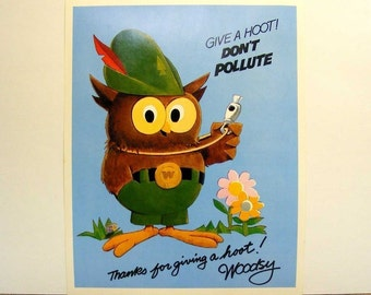 Vintage woodsy owl poster dated 1972 give a hoot, don't pollute