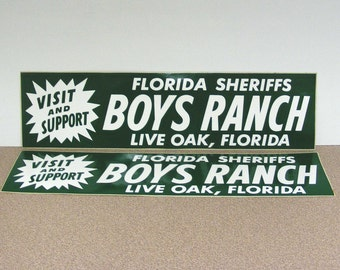 Florida boys ranch vintage bumper sticker, live oak florida, green white, summer camp, youth program, young men, burns packaging