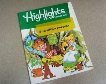 March 1982 highlights for children magazine, Leprechaun, four leaf clover, irish, saint patricks day, green, puzzles, games, stories, fun