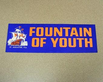 Fountain of youth saint augustine vintage bumper sticker royal blue ship pirates sailing tourist attraction Ponce de León