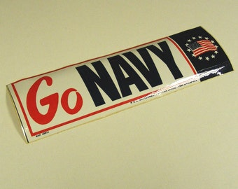 Go Navy bumper sticker 1969, armed services, veterans, sailor, red white and blue, american flag, US government printed