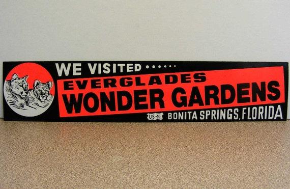 Florida Everglades, Wonder Gardens, vintage bumper sticker, bonita springs, zoo wildlife tigers, we visited, road trip, retro vacation