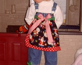 Custom one of a kind Christmas Overalls size 2