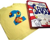 Shirt made with Dr. Seuss Celebration Fabric Birthday Appliqued Birthday TShirt You Choose Number or Letter, Color and Size