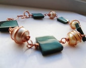 Wire Wrapped Copper and Denim color Mother of Pearl Bracelet by Jessentials