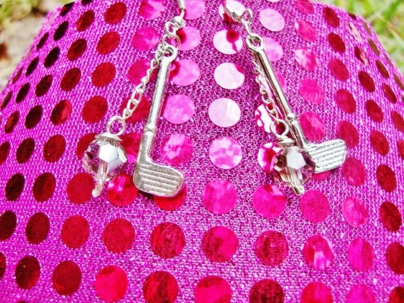 """Golf Club Earrings with Swarovski Crystals """"Par-fection""""-sterling earrings by jessentials"""