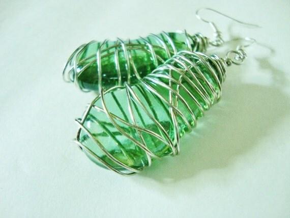 SALE SALE SALE Green Glass Jelly Bean Earrings in a Swirl of Silver by Jessentials
