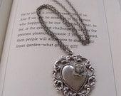 Victorian Enchanted Love - Silver Heart Pendant Necklace