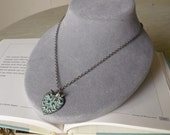 CLEARANCE markded HALF OFF Verdigris Ornate Heart and Bee Charm Necklace in Antique Silver