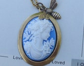 SET OF THREE Bridal Party There was a bee...Petite blue and white cameo necklace