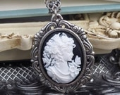 Black and White Cookies and Cream Petite Cameo Necklace
