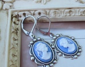 Royal Blue Icing Cameo Earrings