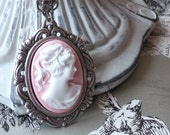 SALE discontinued shade of pink only 2 available Victorian Lady Cameo Pink Cotton Candy- Petite Cameo Necklace in Antique Silver