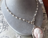 Lady Rosalee Pink Cameo Necklace in Antique Silver with white Pearls
