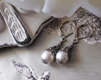 Snow White Splendor Pearl Earrings in Antique Silver