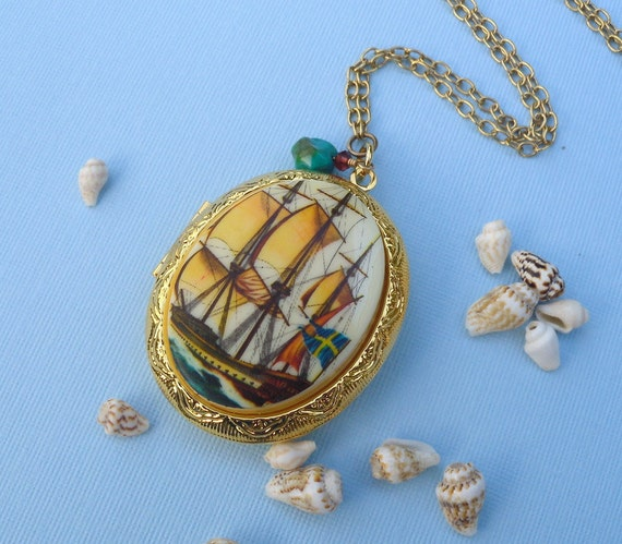 CLEARANCE marked HALF OFF Golden Sails and Turquoise Waters Cameo Ship Locket