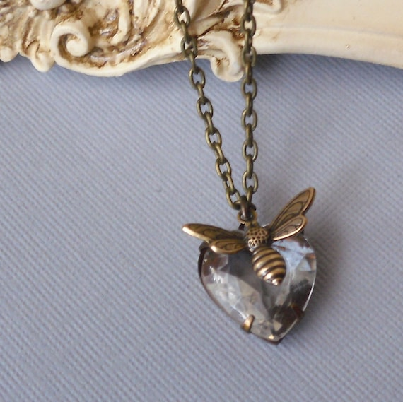 Charming Vintage Glass Heart and Golden Bee Pendant