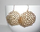 Chrysanthemum Flower Earrings in Gold