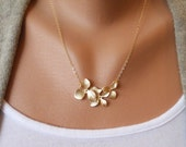 Triple Orchid Necklace in Gold