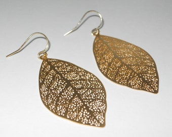 Delightful in Gold Earrings - Gold Dangle Leaves - Perfect Gift - Wedding Bridal Special Day Earrings - Gold Jewelry - The Lovely Raindrop