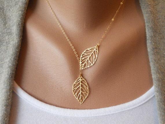 Leaf Lariat in Gold